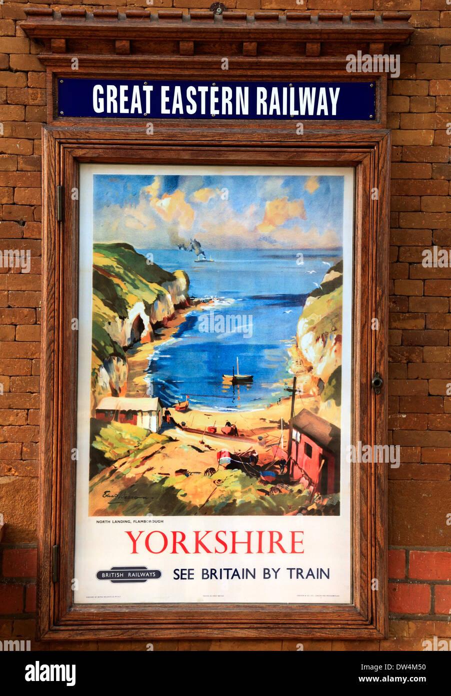 British Railways Werbeplakat, 1948, Wolferton Station, Blick der Künstlerin von Flamborough, Great Eastern Stockbild