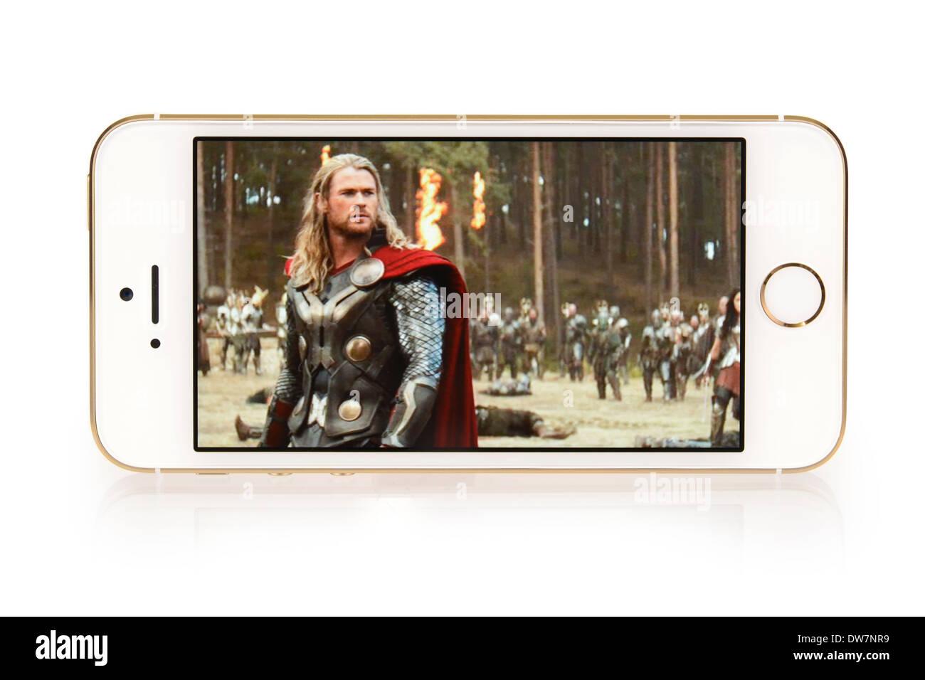 iTunes Filme, Film Thor auf iPhone 5 s, 5 S Stockbild