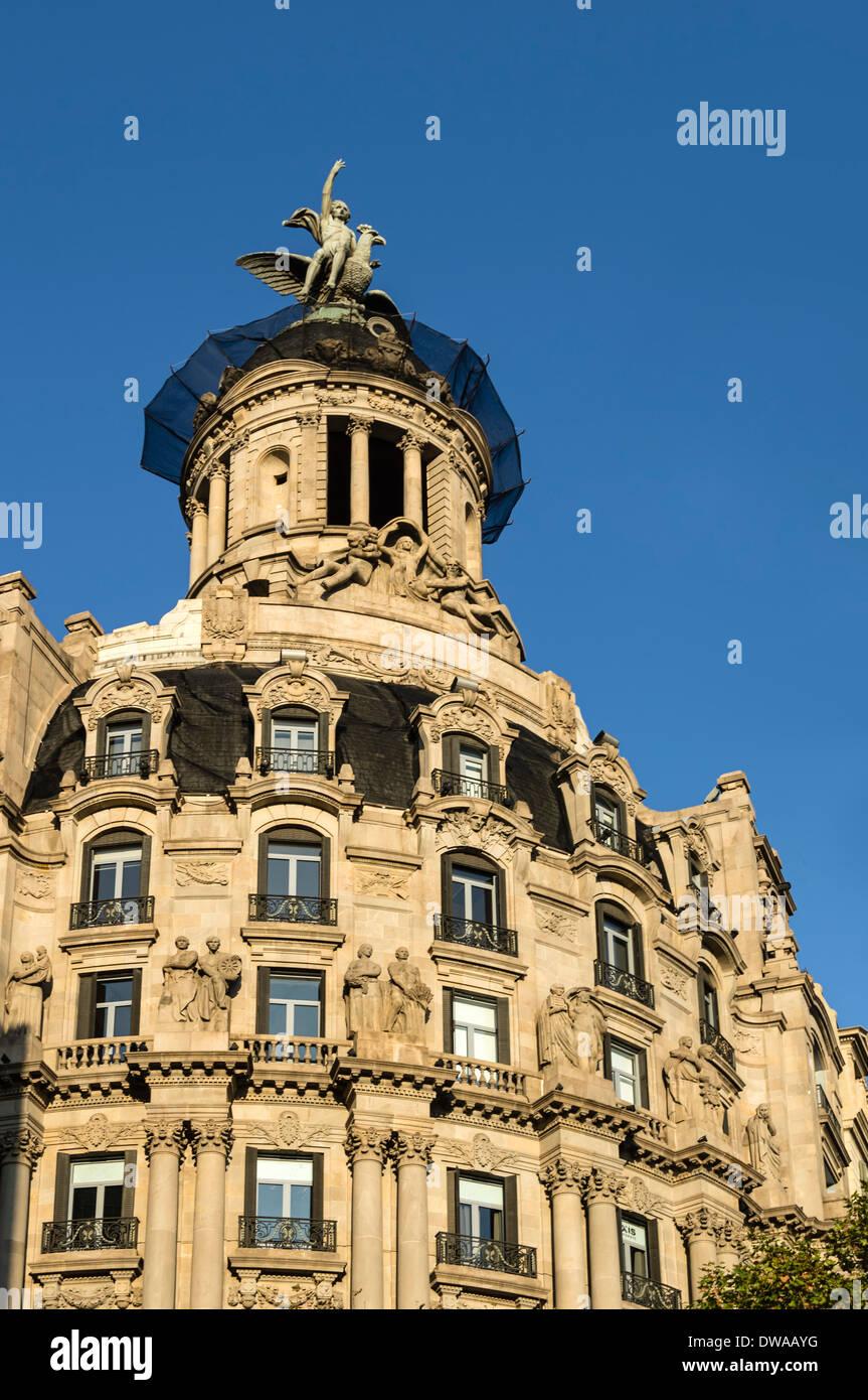 Art-Deco-Gebäude, Passeig de Gracia, Barcelona, Spanien Stockbild