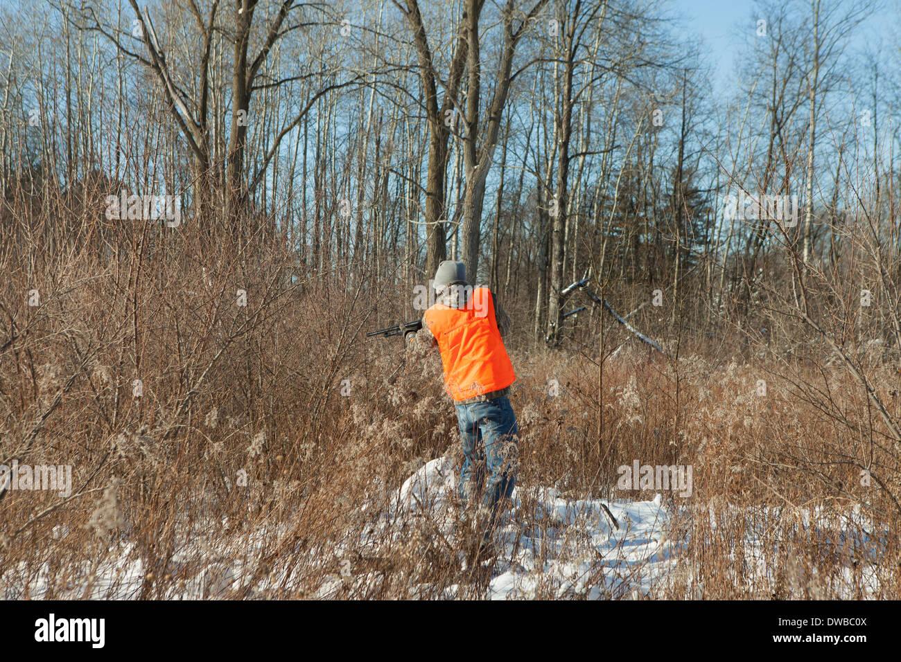 Teenager Tierfilme in Petersburg State Game Bereich, Michigan, USA Stockbild