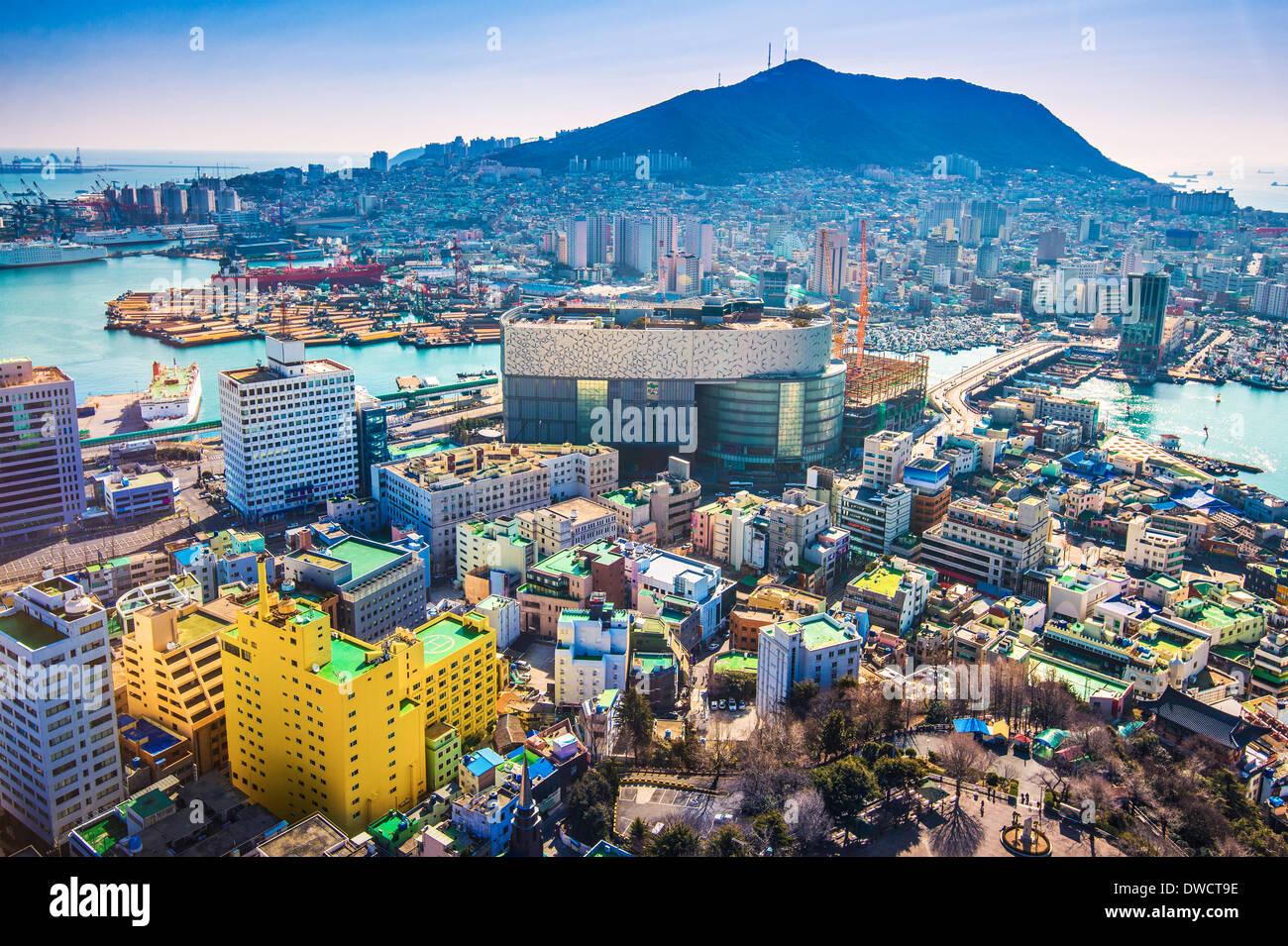 Busan, Südkorea Stadtbild von oben. Stockbild