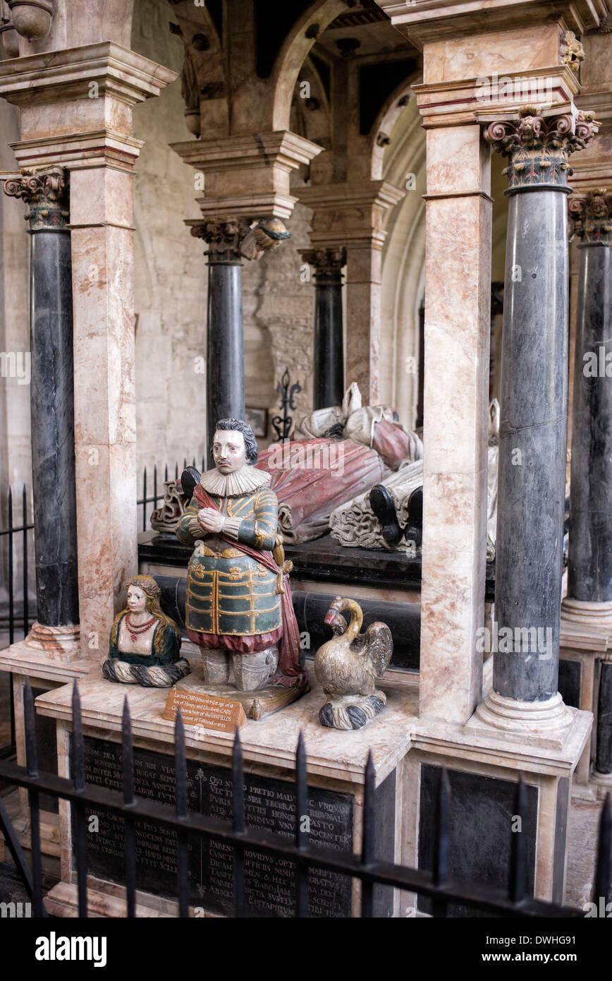 Denkmal von Lucius Carey und seine Frau Elisabeth in St. Johannes der Täufer Kirche, Burford, Cotswolds, Oxfordshire, Stockbild