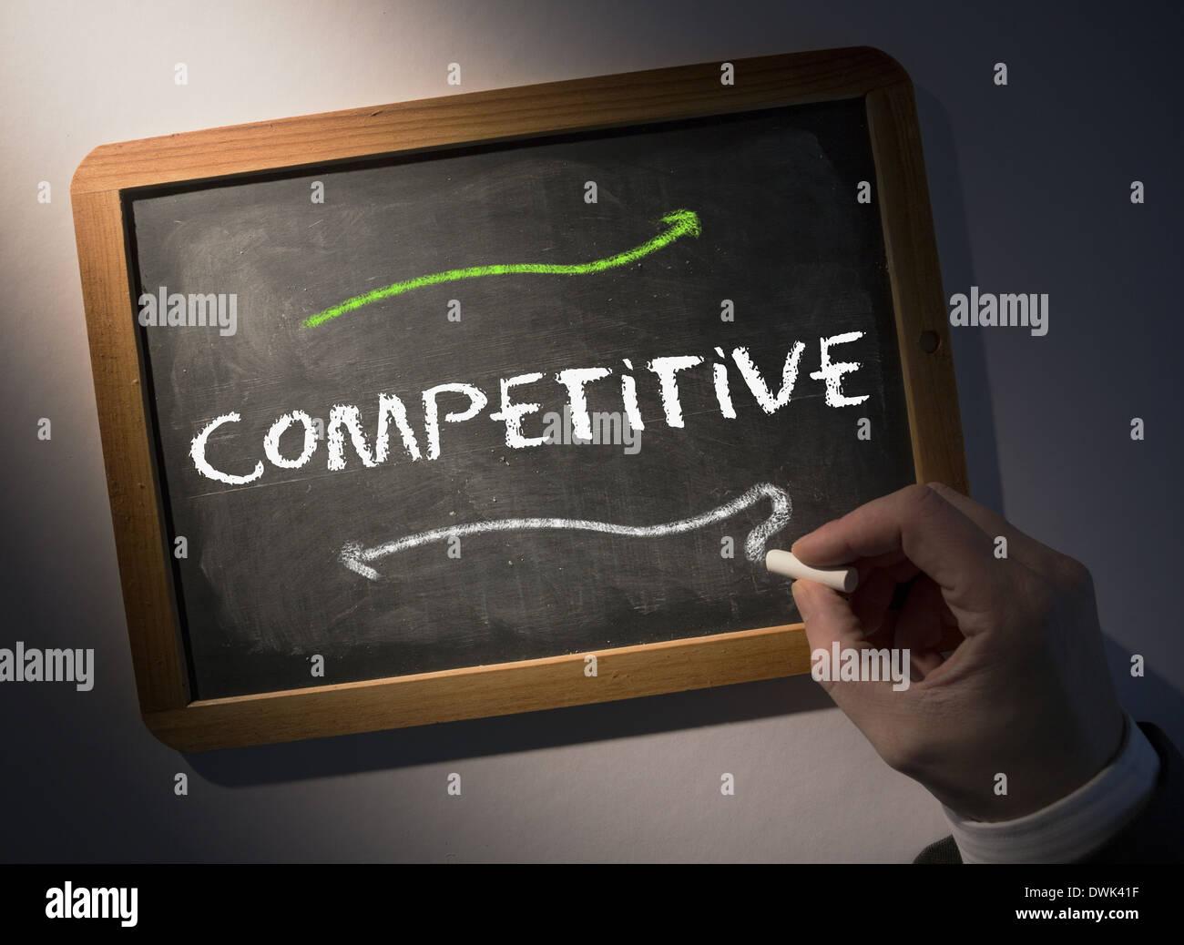 Handschrift Competitive an Tafel Stockbild