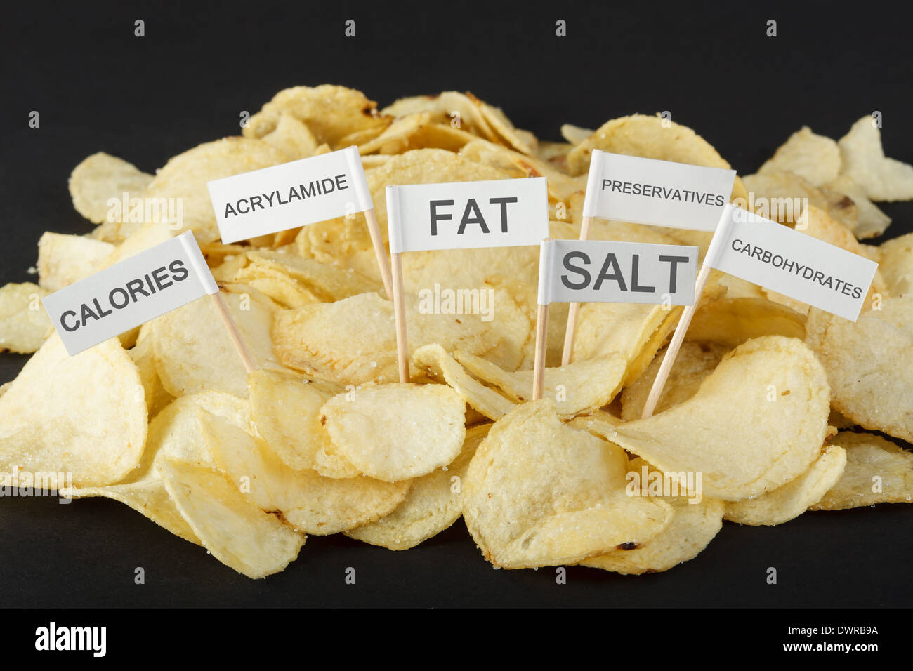 Junk-Food-Konzept. Kartoffel-Chips und Flaggen zeigen ungesunde Zutaten Stockbild