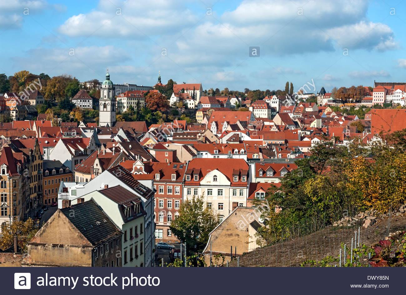 Blick über die alte Stadt Meißen, Sachsen, Deutschland. | Aussicht-deutschen sterben Altstadt von Meißen, Stockbild
