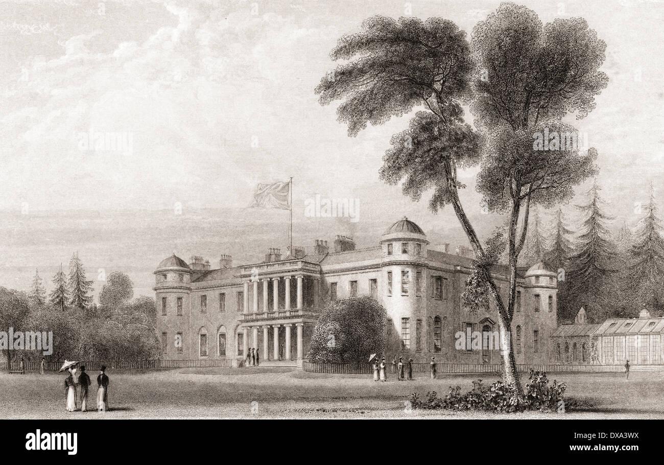 19. Jahrhundert-Ansicht von Goodwood House, West Sussex, Südengland. Stockbild