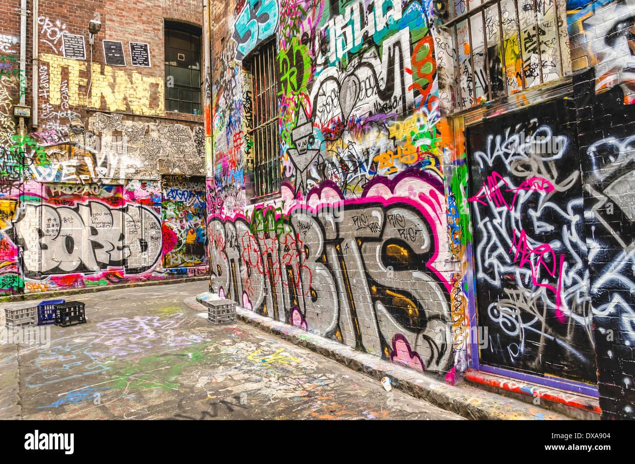 Graffiti-Kunst in Melbourne, Australien Stockbild