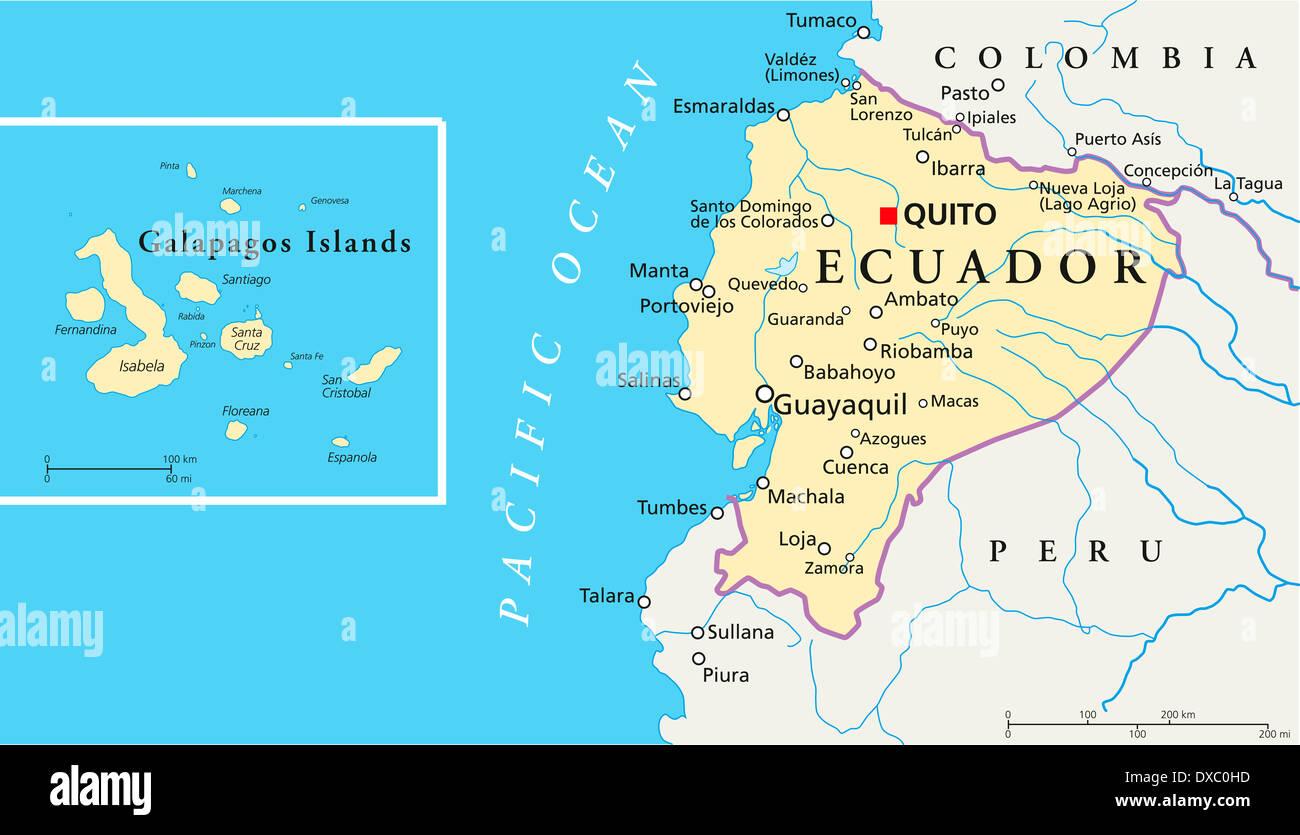 politische landkarte von ecuador und galapagos inseln mit. Black Bedroom Furniture Sets. Home Design Ideas