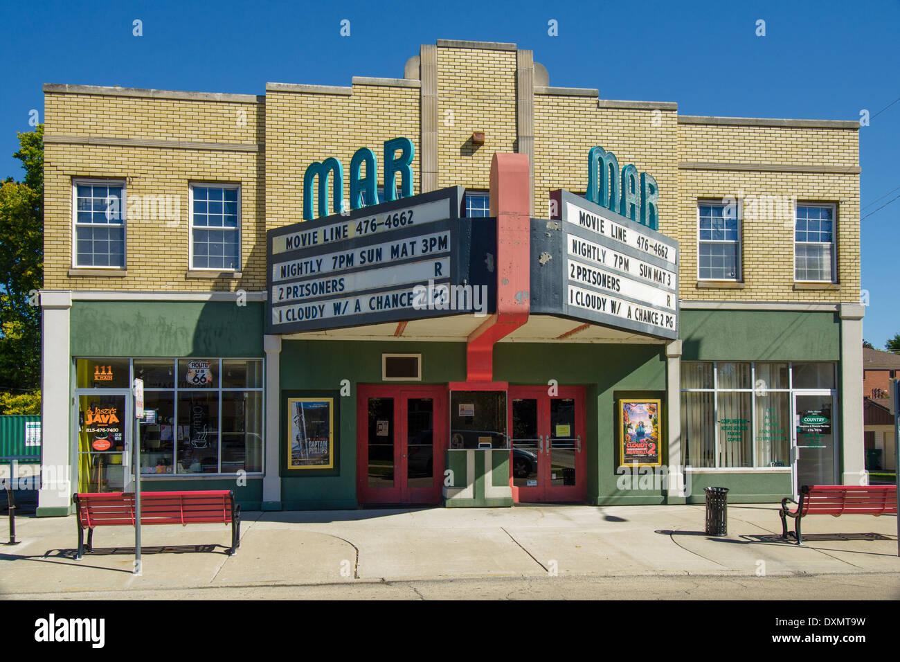 Das historische Mar Theater, das 1937 eröffnete ist noch in Betrieb in Wilmington, Illinois, einer Stadt entlang Stockbild