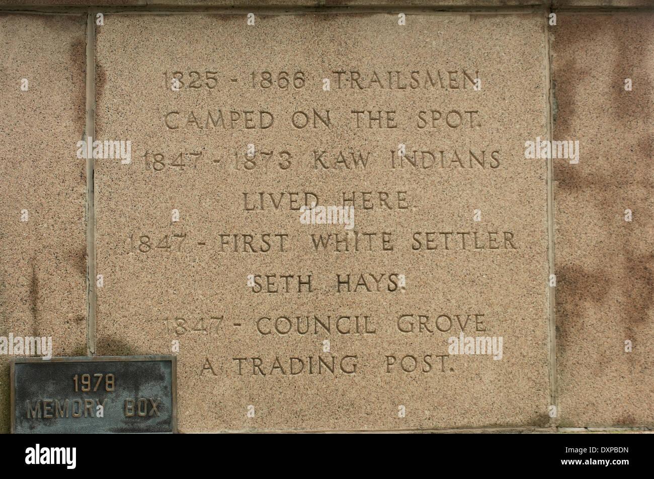 Geschichte des Council Grove, Kansas, einer frühen Stadt auf dem Santa Fe Trail. Stockbild
