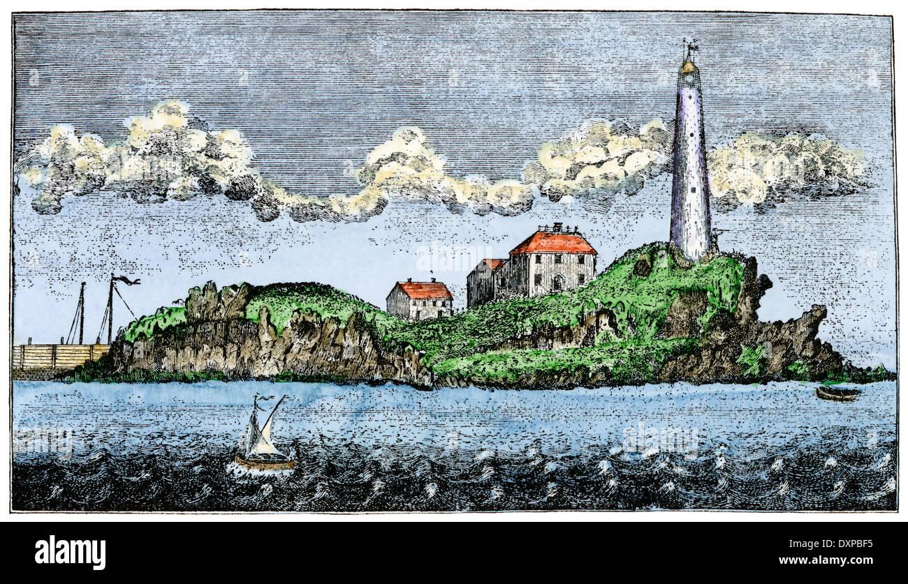 Boston Licht, auf kleinen Brewster Insel, im Jahre 1789. Stockbild