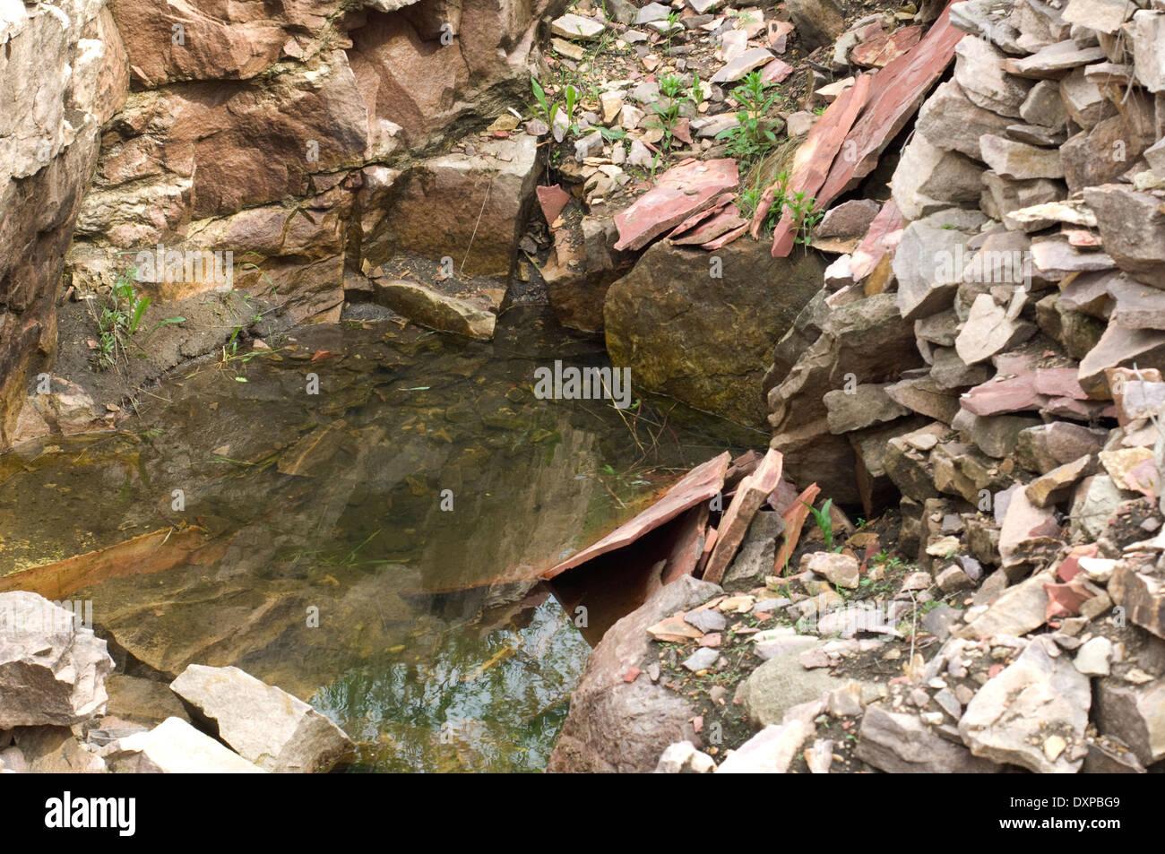 Steinbruch für Pipestone (rötliche Gestein), verwendet, um indianische Pfeifen, Pipestone National Monument, Stockbild