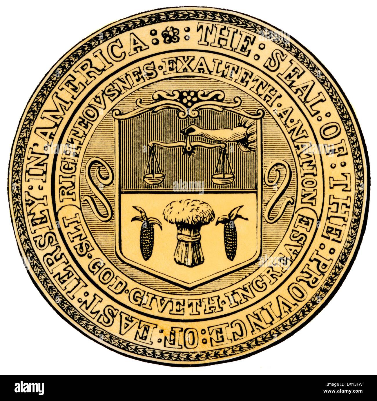 Koloniale Siegel der Provinz Ost Jersey. Handkolorierten Holzschnitt Stockbild