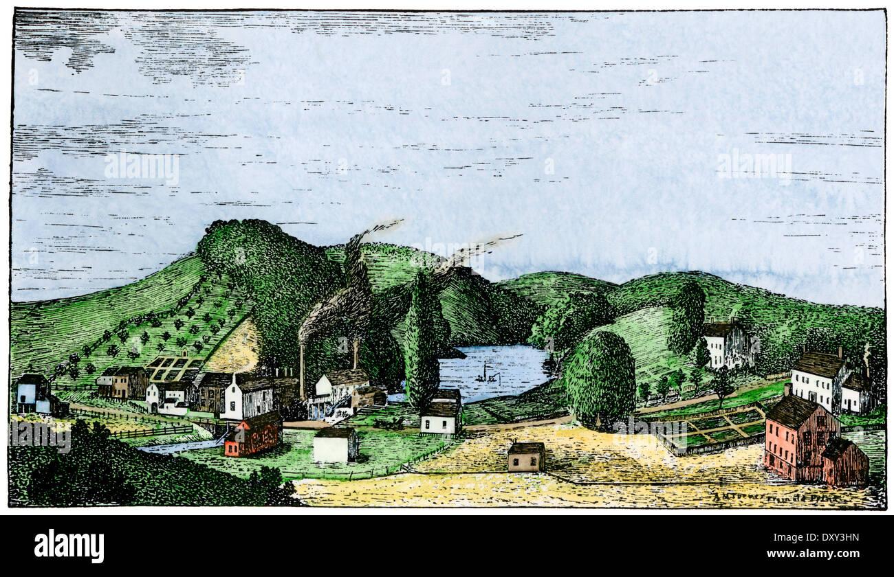 Speedwell Eisenarbeiten, Ort der ersten öffentlichen telegraph Vorführung, Morristown, New Jersey, 1830er Stockbild