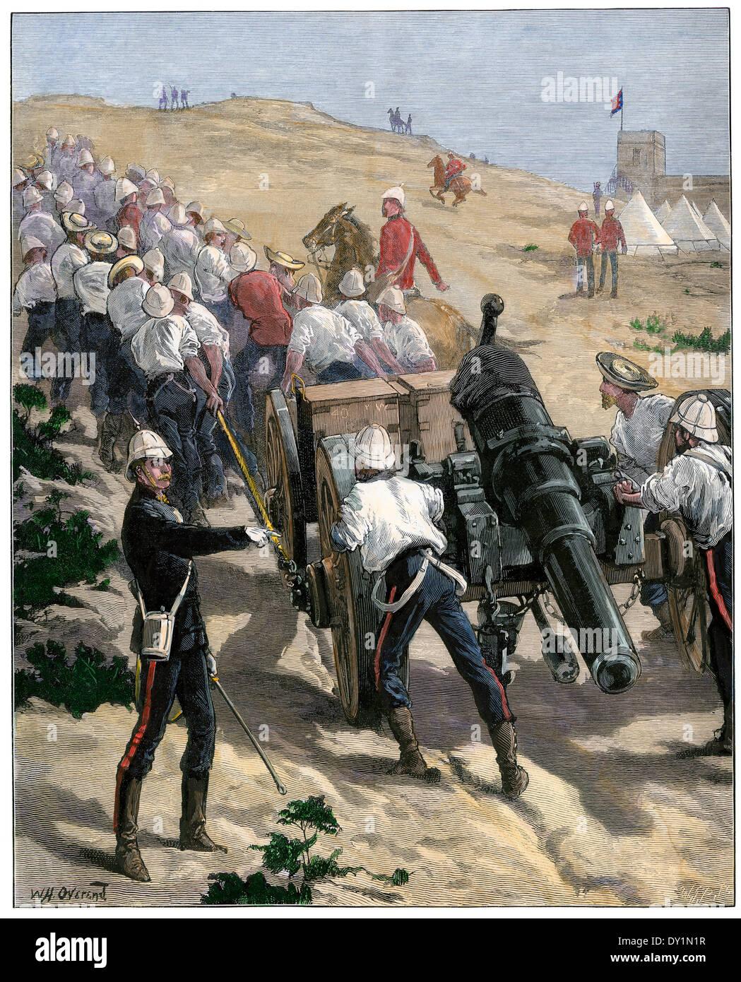 Britische Truppen ziehen Artillerie in Stellung in der Nähe von Alexandria während der Besetzung Ägyptens, Stockbild