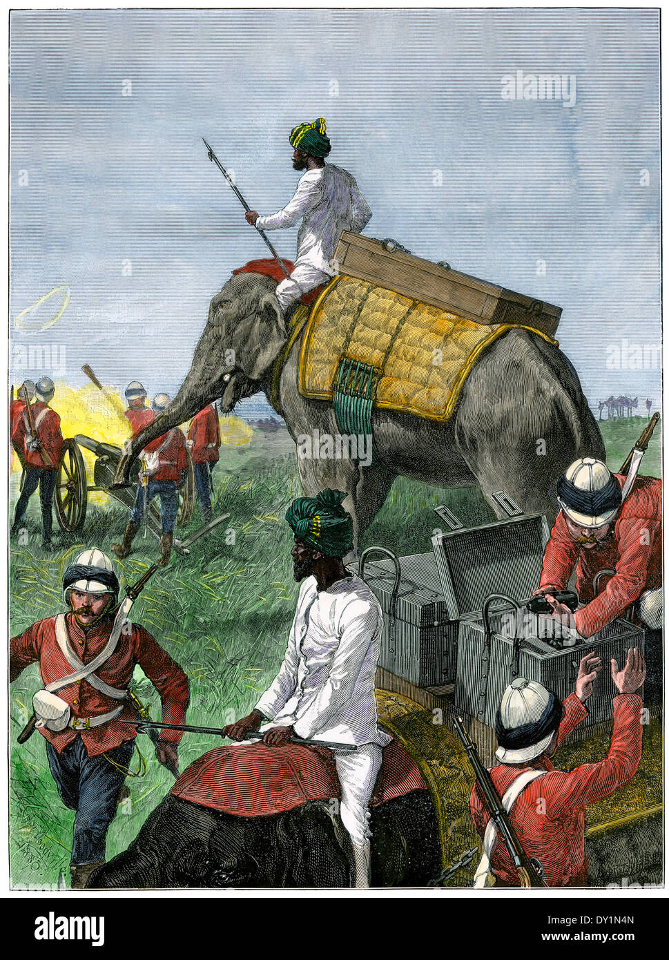 Elefanten in Nutzung durch britische Artillerie-Regiment in Burmah (Myanmar), 1880 s. Stockbild