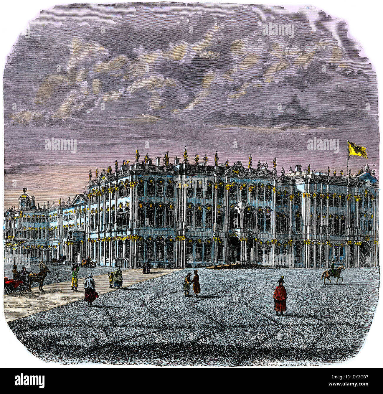 Der Winterpalast, St. Petersburg, Russland, 1880 s. Stockbild