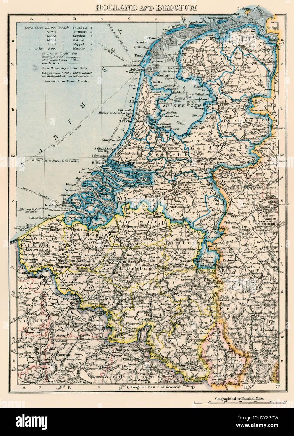 Landkarte von den Niederlanden und Belgien, der 1870er Jahre. Stockbild
