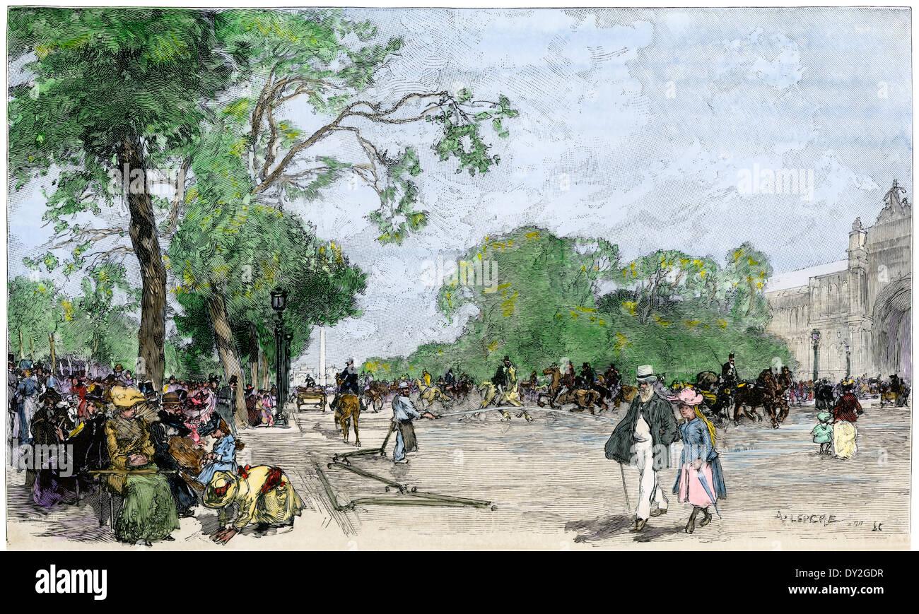 Sommernachmittag auf der Avenue des Champs Elysees, Paris 1890 s. Stockbild