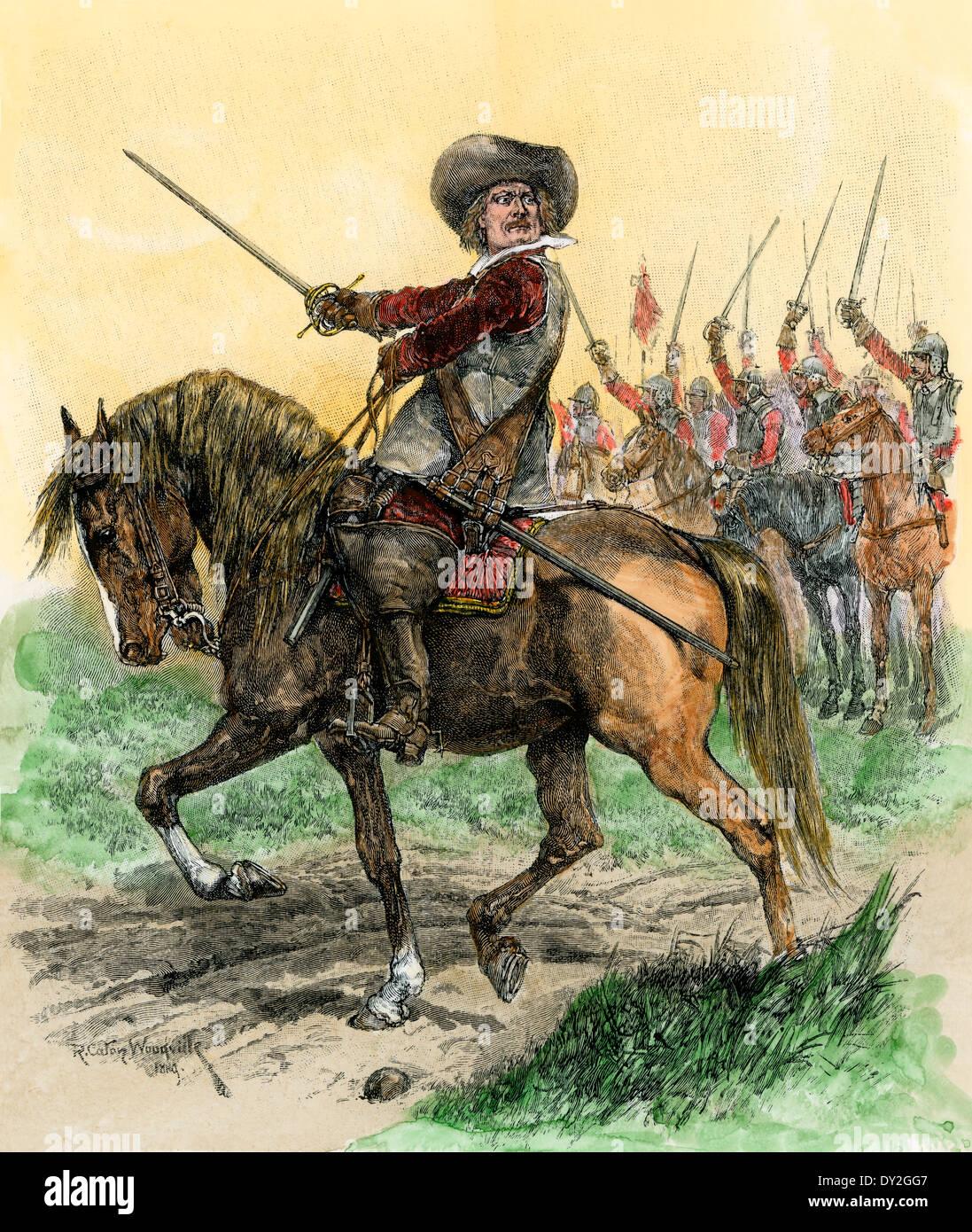 Cromwell führende Truppen an Schlacht von Marston Moor, englischer Bürgerkrieg, 1644. Stockbild