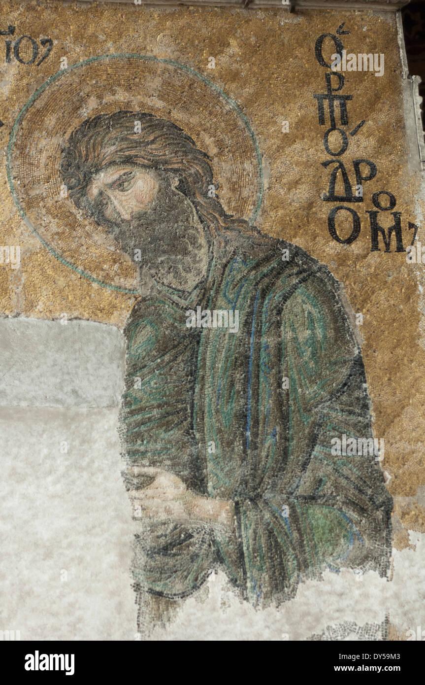 Byzantinische Mosaik von Johannes dem Täufer in der Hagia Sophia, Istanbul. Stockbild