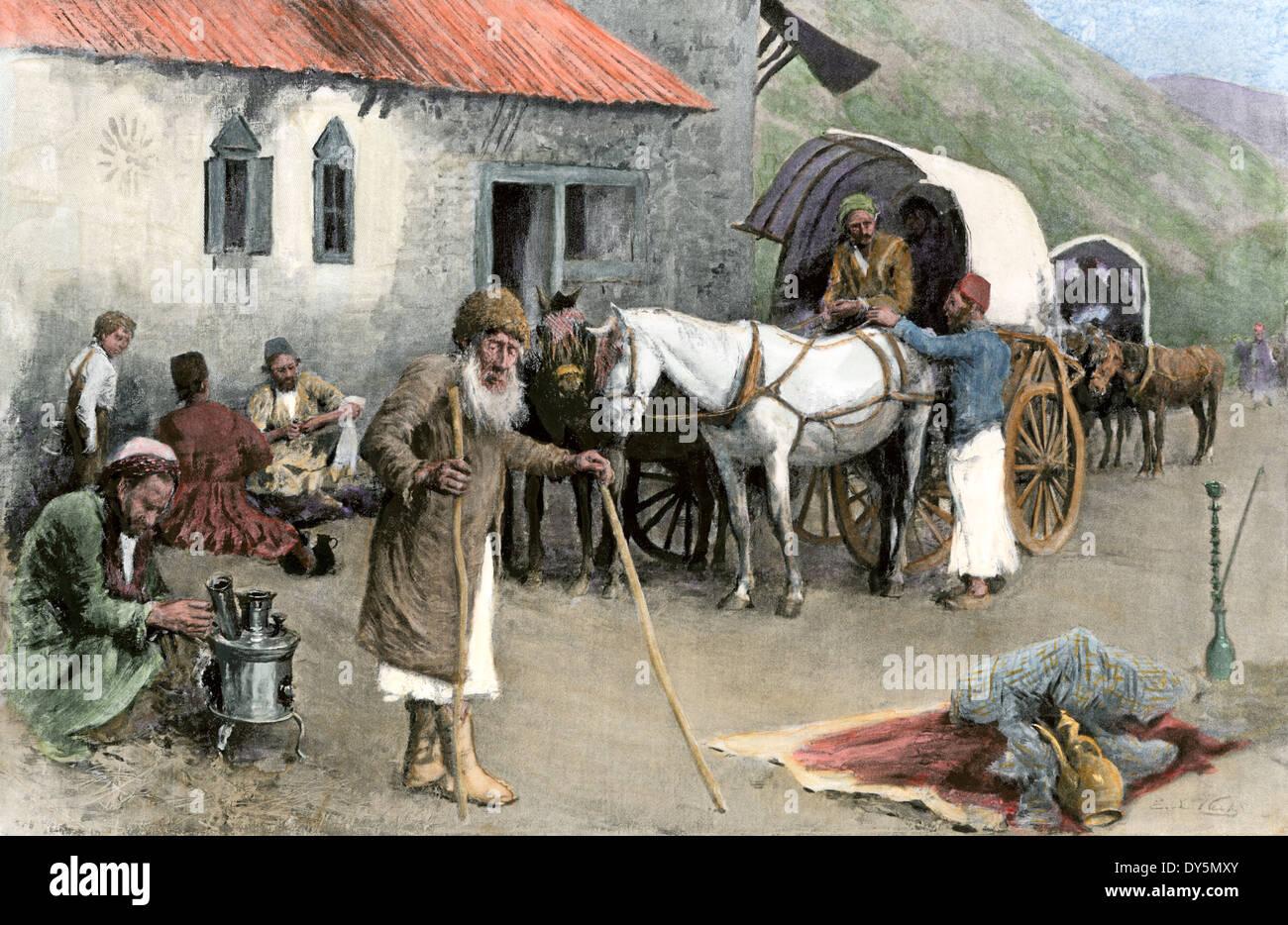 Armenische Flüchtlinge aus der osmanischen Massaker Ankunft in einem Berggasthaus, 1896. Stockbild