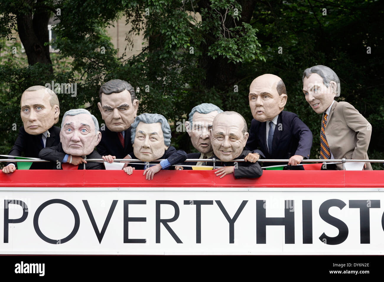 Protest gegen den G8-Gipfel in Edinburgh die Armut zu machen. Stockbild