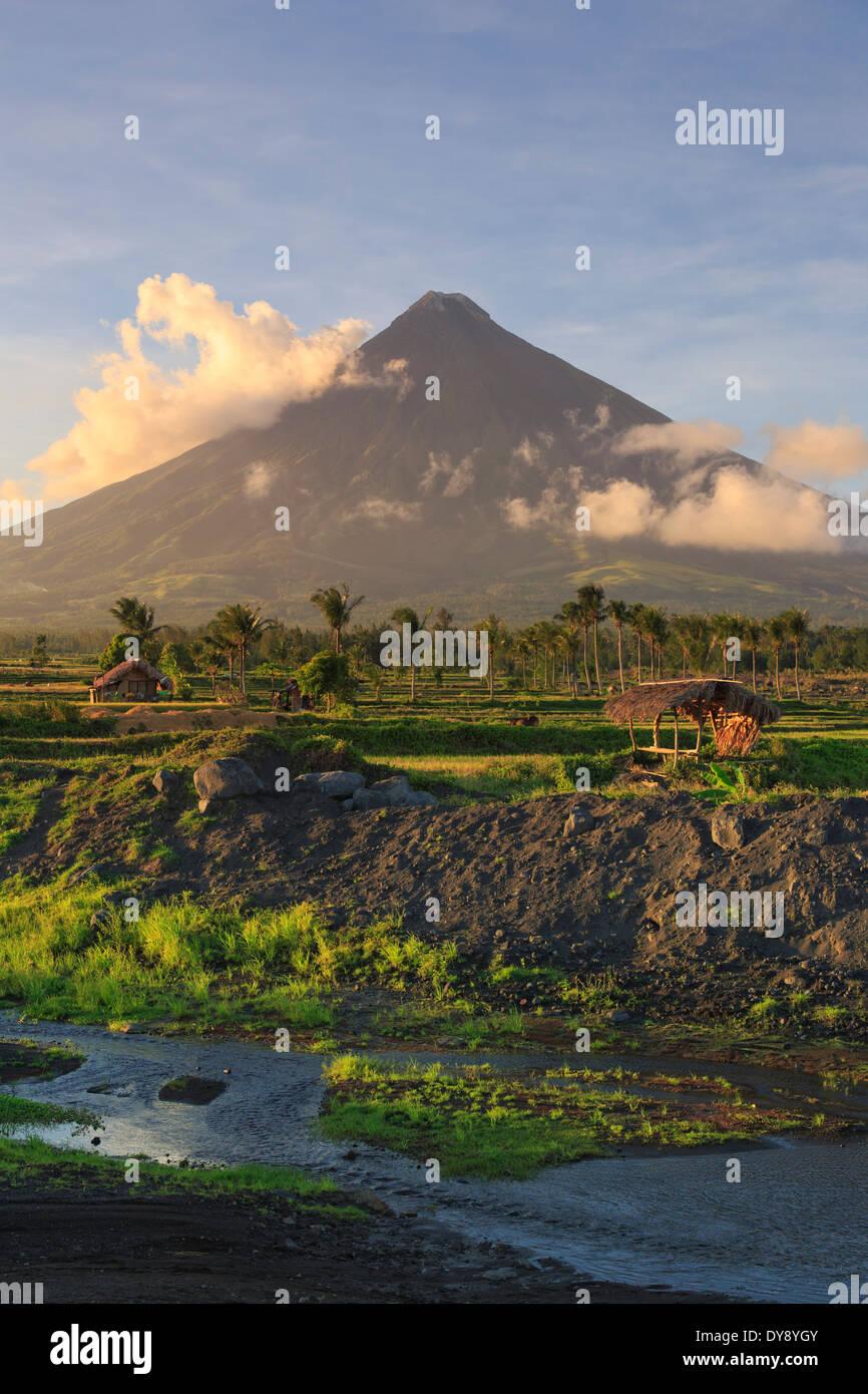 Philippinen, Souteastern Luzon, Bicol, Mayon Vulkan Stockbild