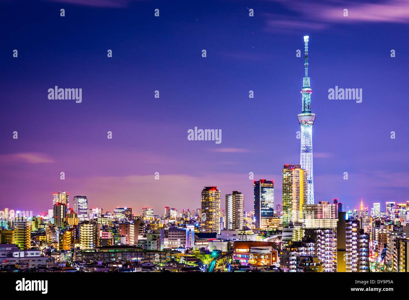 Tokyo, Japan Stadtbild mit den Skytree. Stockbild