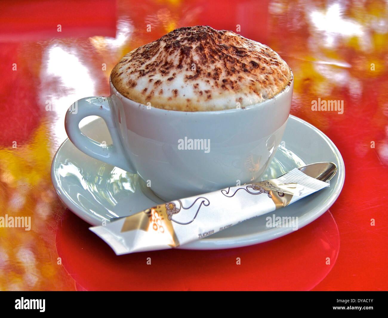 Cappuccino, Kaffee, Essen, Getränk, Croissant, Brot, Tasse, Teller, Stockbild