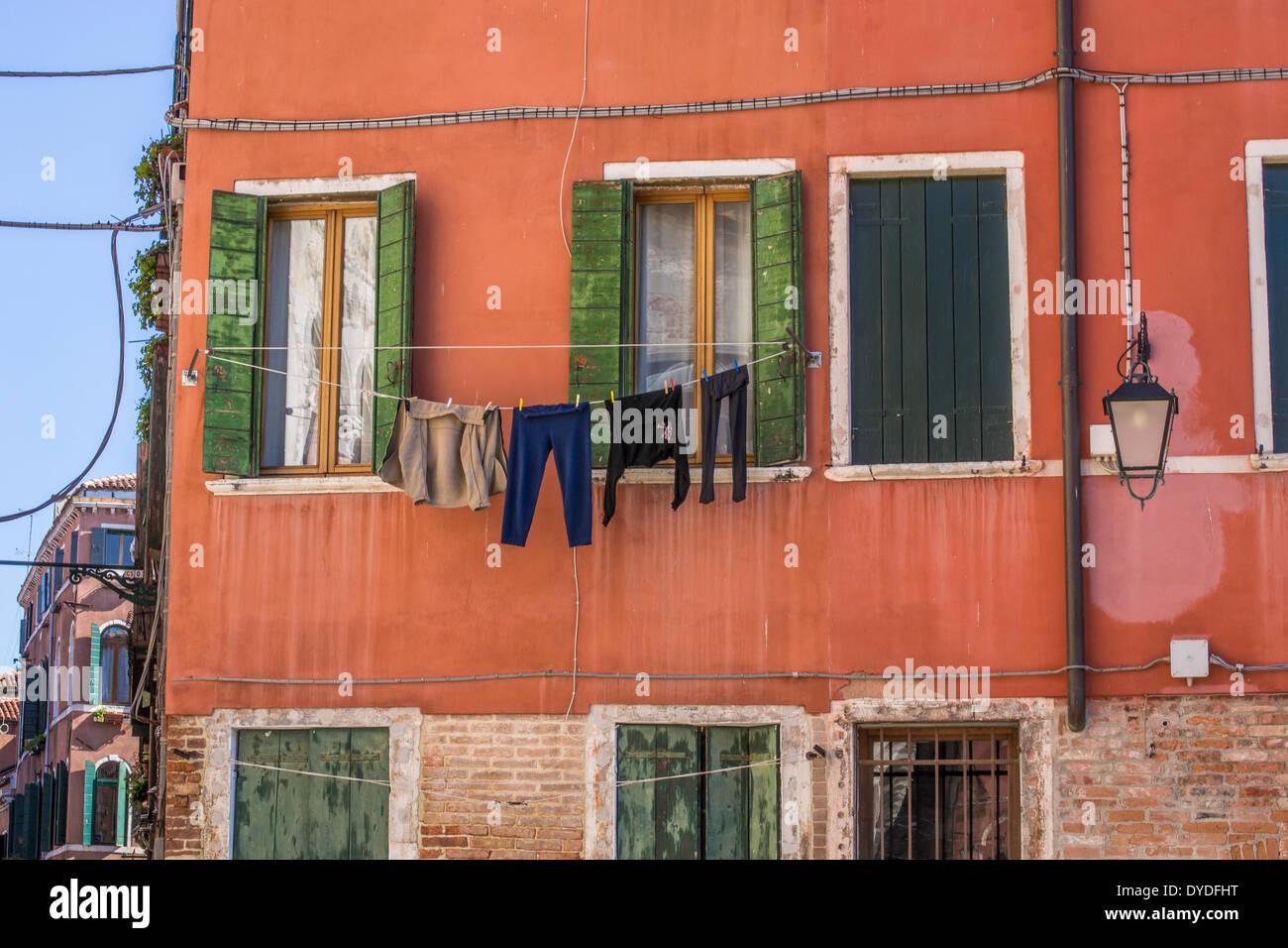Einen Eindruck vom täglichen Leben in Venedig. Stockbild
