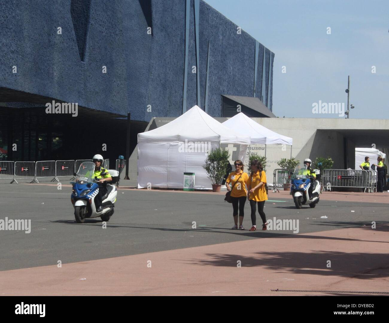 Polizei Notruf Motorräder in Barcelona. Barcelona Stockbild