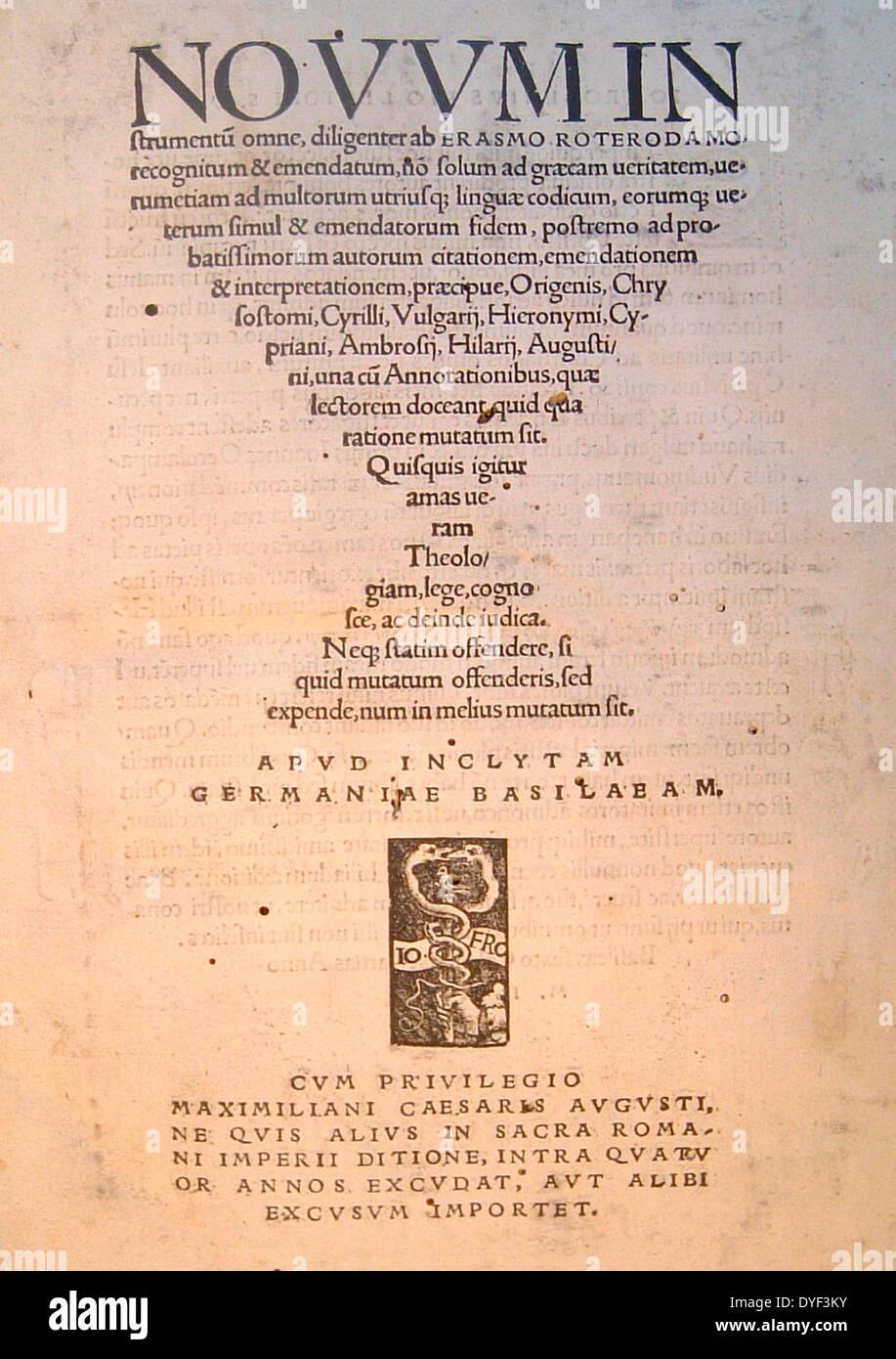 Die lateinischen und griechischen neuen Testament 1516. Stockbild