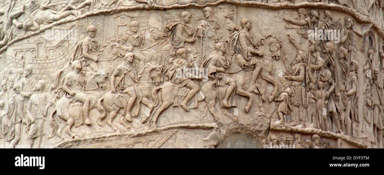 Detail der Trajans Säule Rom 2013. Stockbild