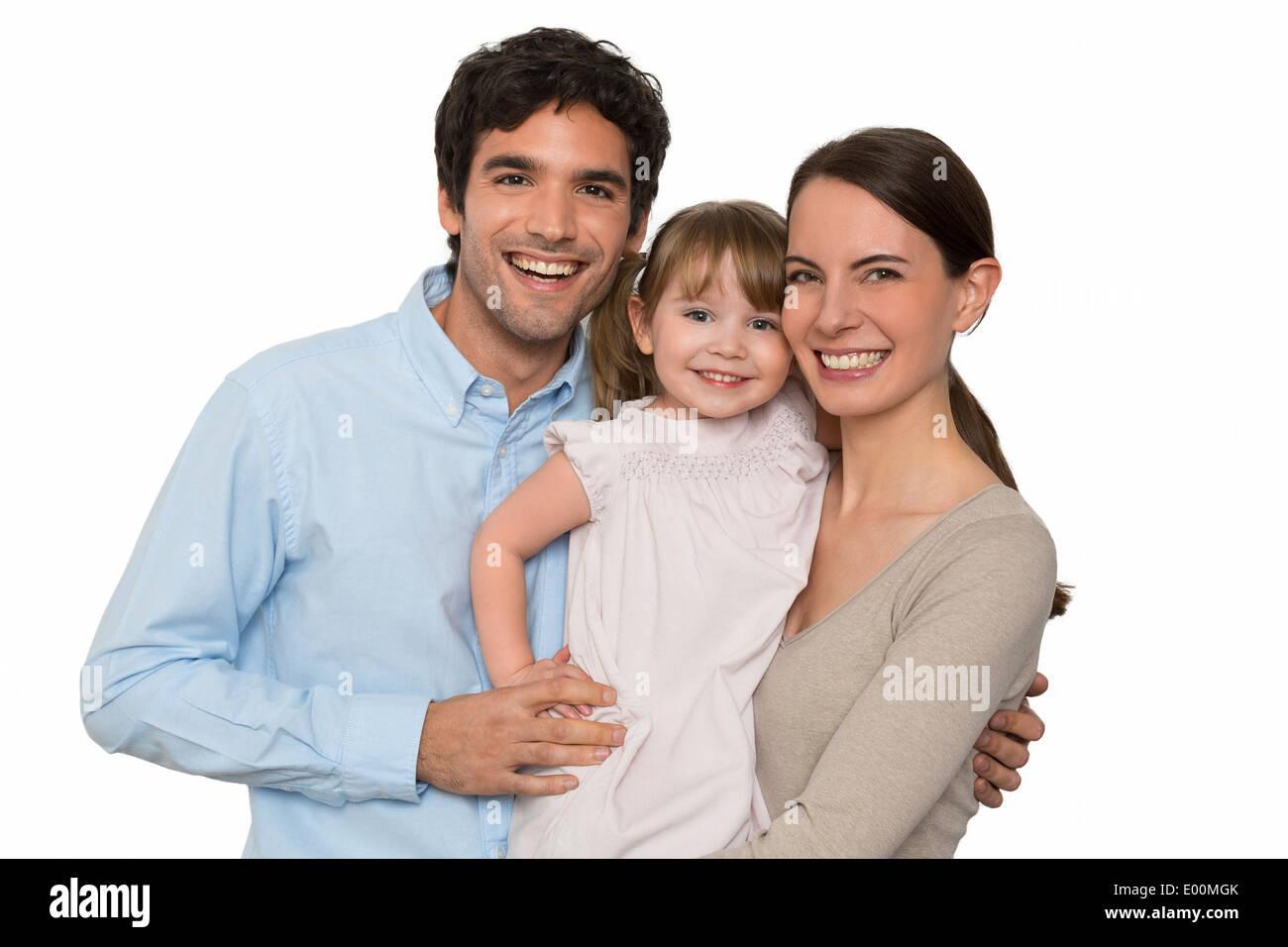 Fröhliche Vater Mutter kleines Mädchen studio Stockbild