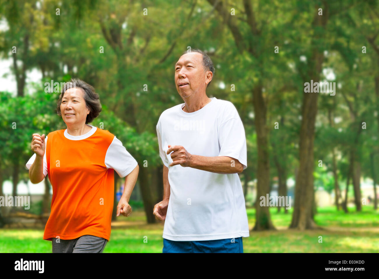 gerne älteres Paar zusammen laufen im park Stockbild