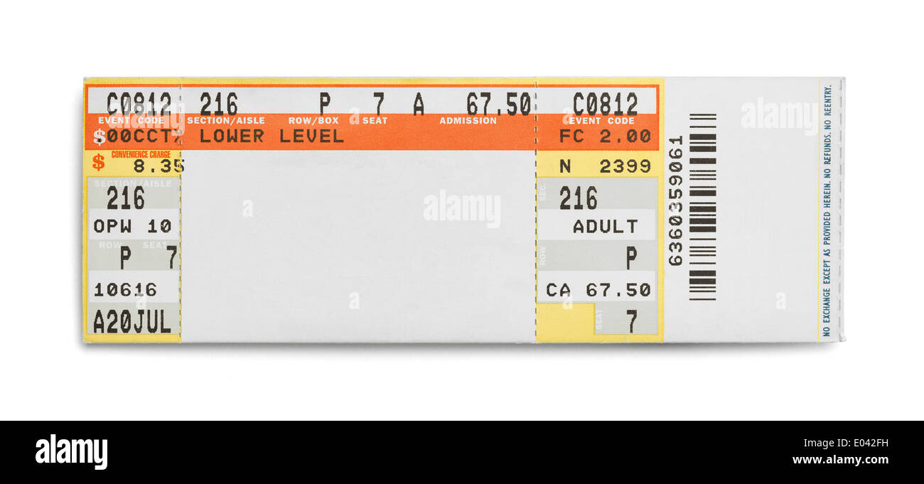 Konzert-Event-Ticket Isolated on White Background. Stockbild