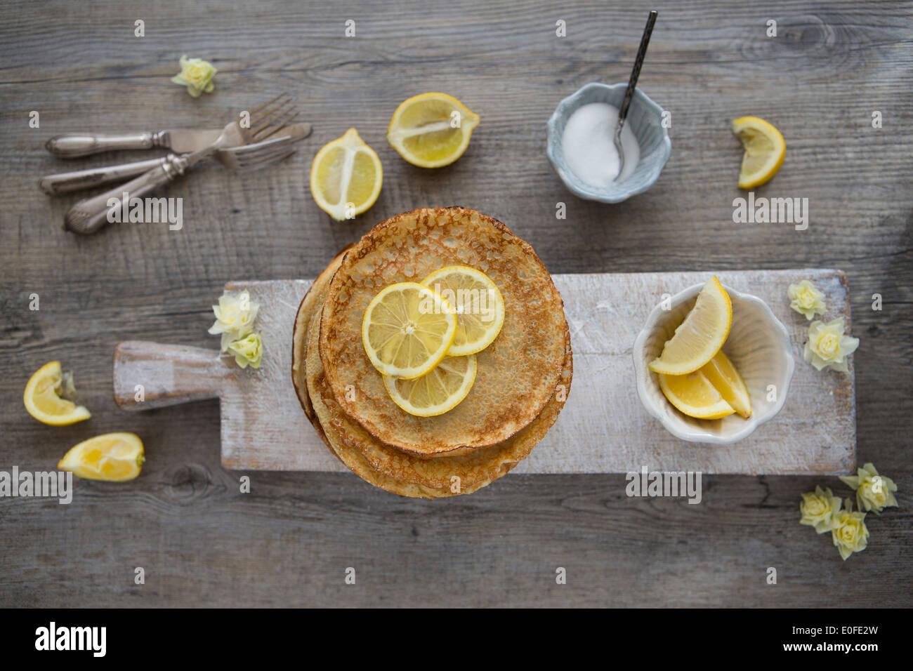 Klassische Zitrone und Zucker Pfannkuchen Stockbild