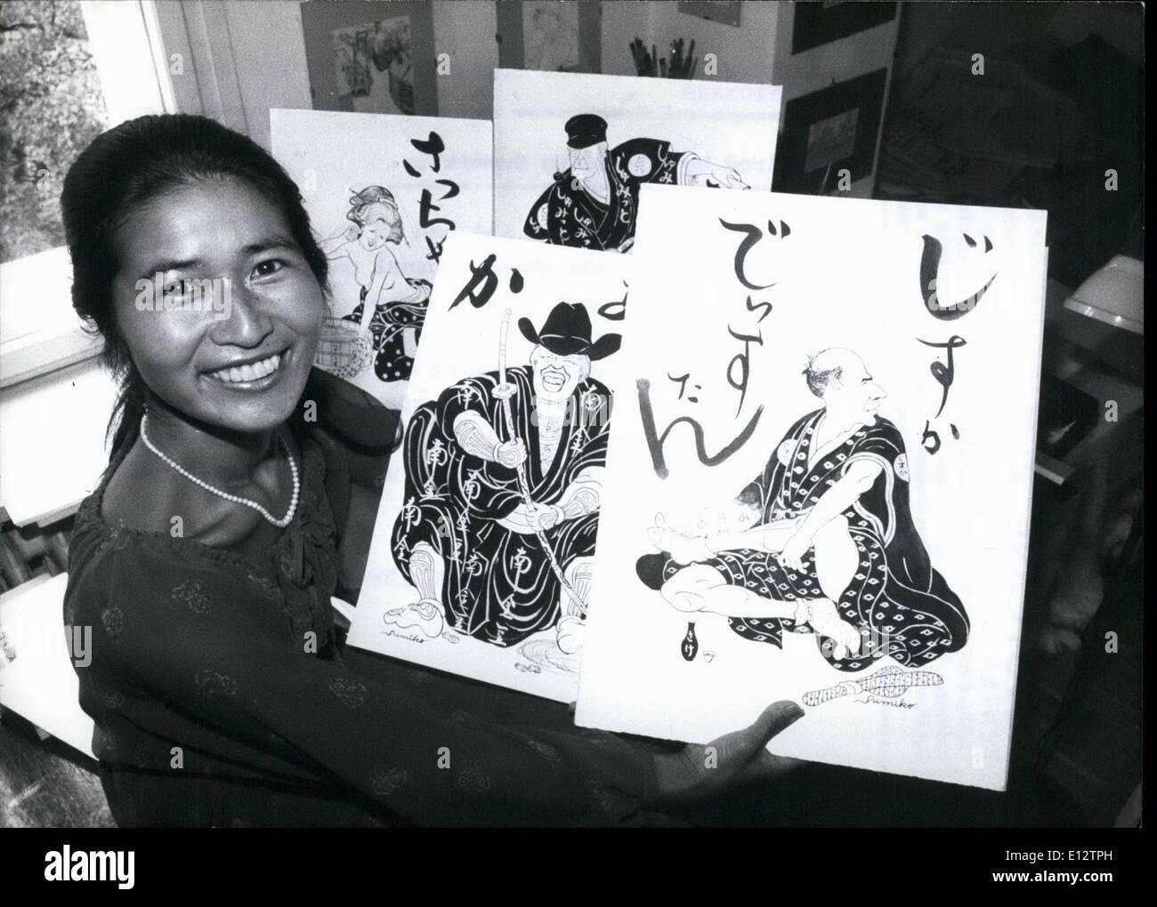 25. Februar 2012 - Gemälde des japanischen auf der Suche nach europäischen und amerikanischen Politikern: Stockbild