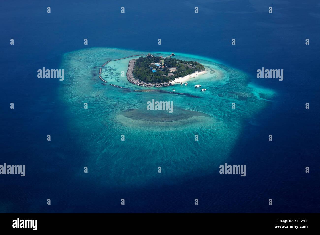 Luftaufnahme, Insel im Indischen Ozean, Malediven Stockbild