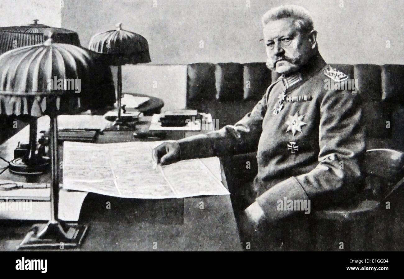 Foto von Paul Von Hindenburg (1847-1934) der zweite Bundespräsident der Bundesrepublik Deutschland und preußisch Stockbild