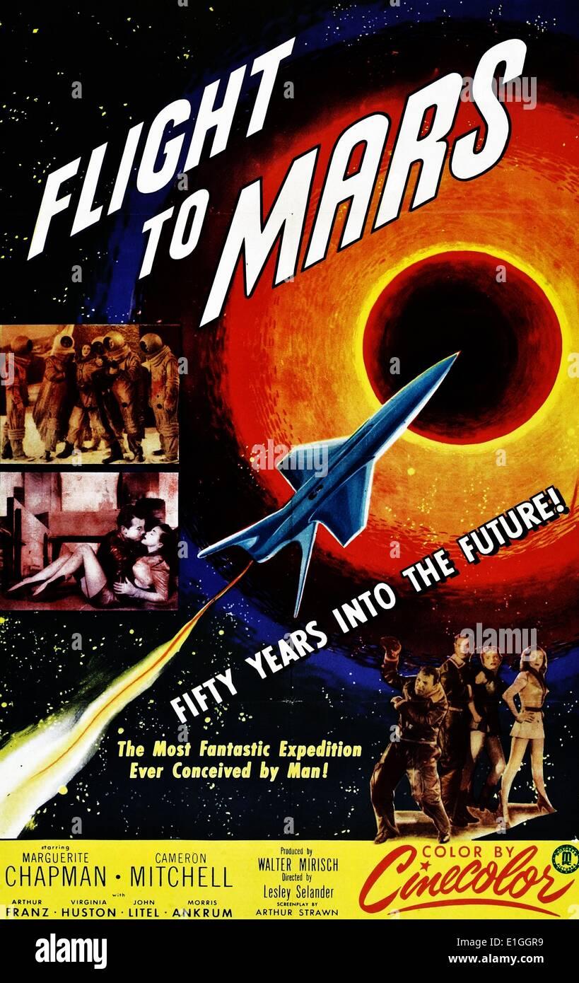 """""""Flug zum Mars"""", ein Science-Fiction-Film von 1951 mit Marguerite Chapman und Cameron Mitchell. Stockbild"""