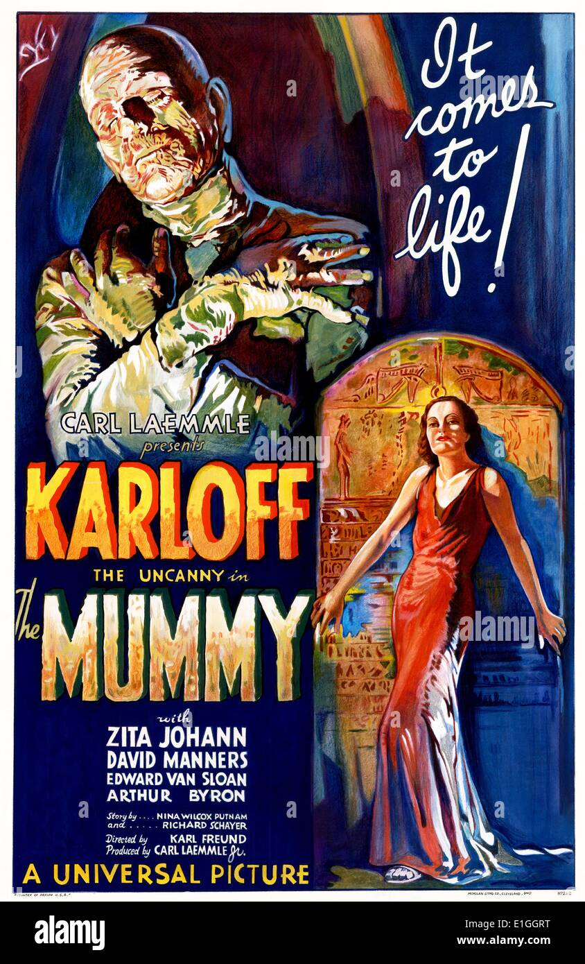 """Mumie"" mit Boris Karloff 1932-Horror-Film. Stockbild"