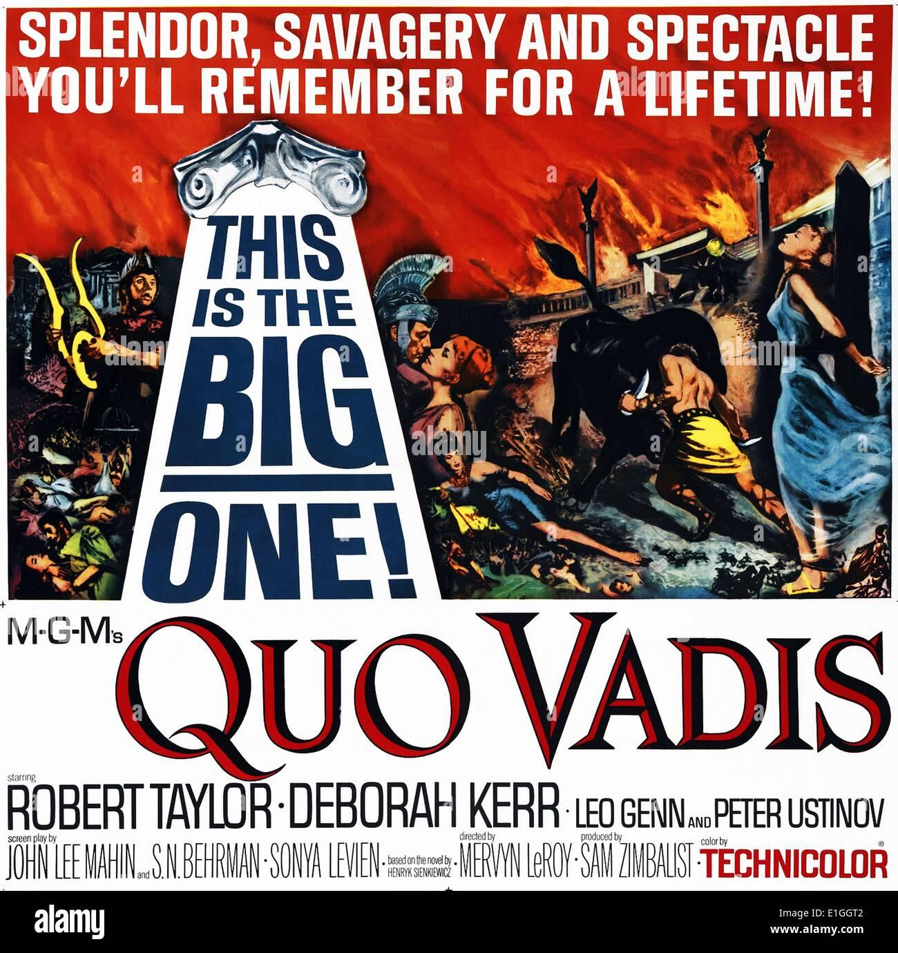 """""""Quo Vadis"""" mit Robert Taylor und Deborah Kerr ein 1951 amerikanischen epischen Film von MGM in Technicolor. Stockbild"""