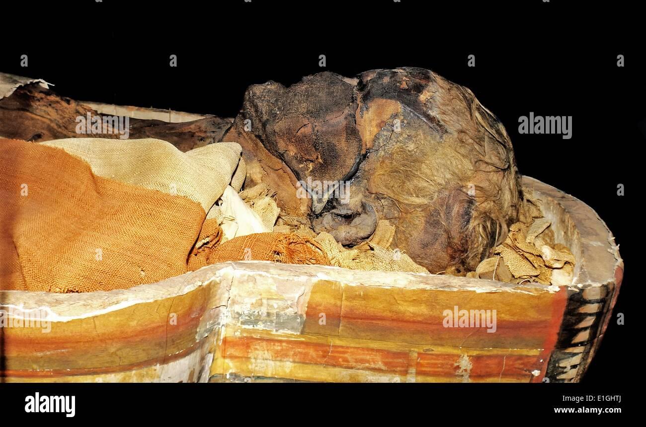 Der Sarg des Dismutenibtes im Museum der Kulturgeschichte in Oslo 747-664BC, Ägypten Stockbild