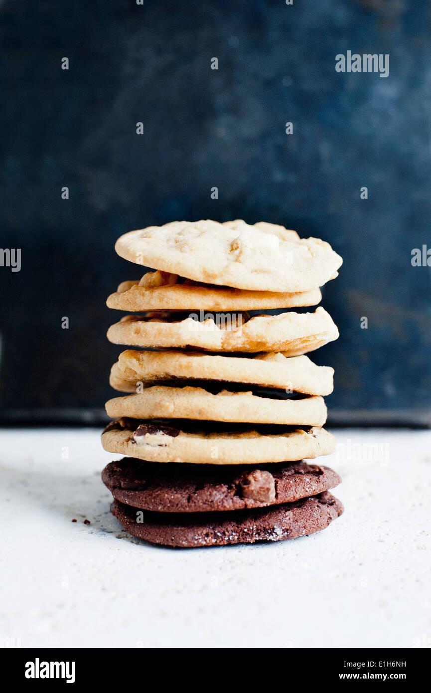 Stillleben aus einem Stapel von Hause gebackene Kekse Stockbild