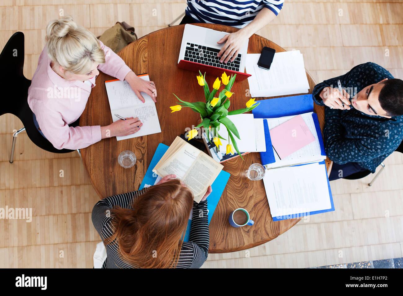 Luftaufnahme von vier jungen Erwachsenen, die herumsitzen und Studium der Tabelle Stockbild