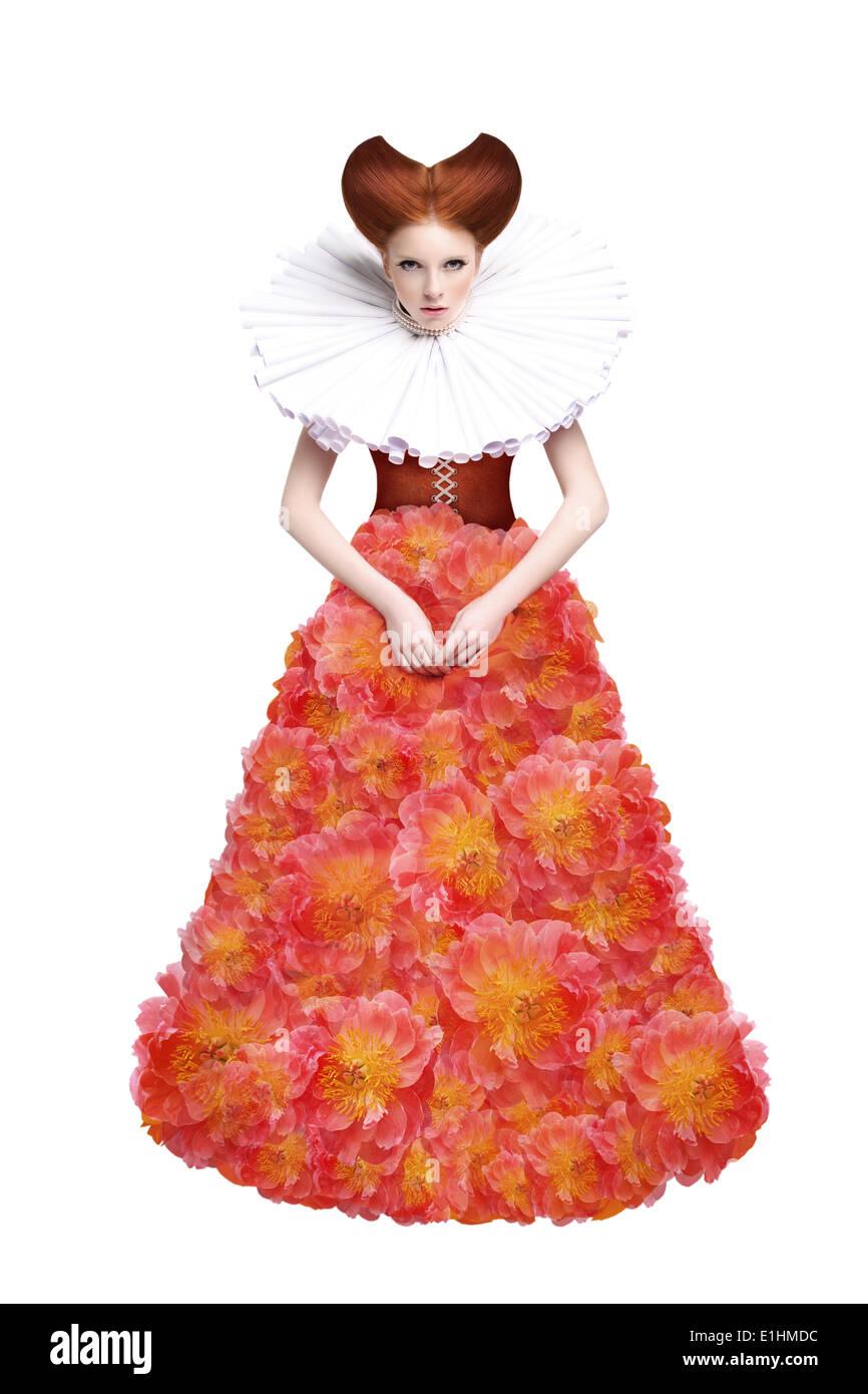 Rote Haare Herzogin. Retro-Mode Frau im klassischen Jabot. Renaissance. Fantasie Stockbild