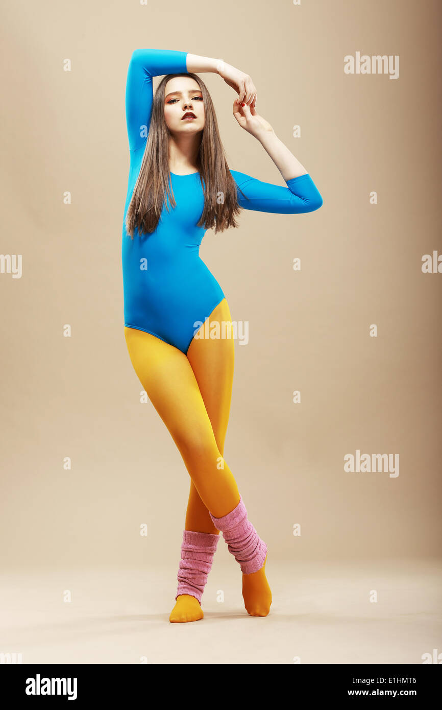 Fitness. Gesund schlank Frau in Sportkleidung und Oberteil. Wellness Stockbild