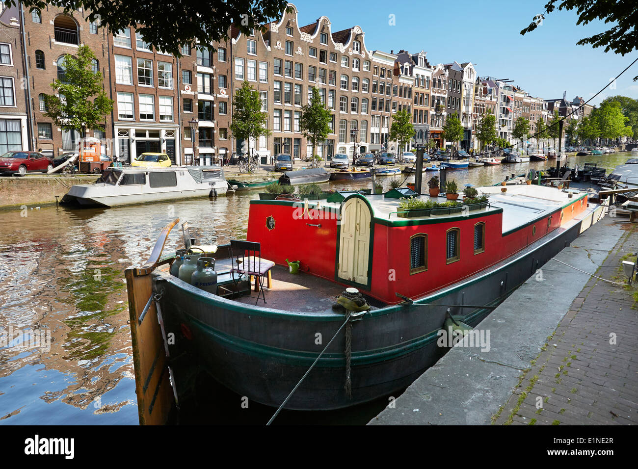 Hausboot Hausboot, Amsterdam Canal - Holland Niederlande Stockbild